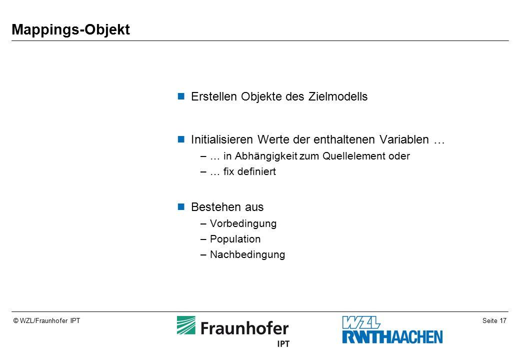 Seite 17© WZL/Fraunhofer IPT Mappings-Objekt Erstellen Objekte des Zielmodells Initialisieren Werte der enthaltenen Variablen … –… in Abhängigkeit zum Quellelement oder –… fix definiert Bestehen aus –Vorbedingung –Population –Nachbedingung