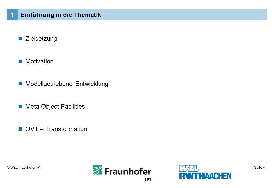 Seite 5© WZL/Fraunhofer IPT Zielsetzung Betrachtung der Transformationssprache QVT operational –Funktionsweise –Einsatzmöglichkeiten Untersuchung der Benutzerfreundlichkeit innerhalb der Entwicklungsumgebung Eclipse Sammeln der Erkenntnisse anhand eines geschilderten Beispielszenarios