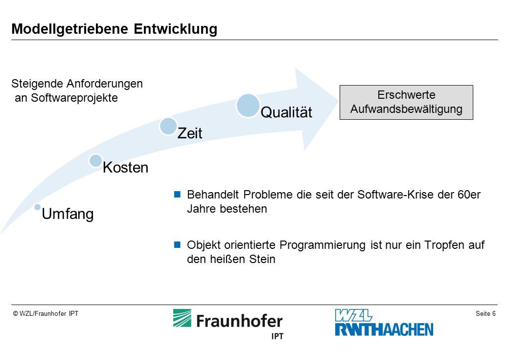 Seite 7© WZL/Fraunhofer IPT Modellgetriebene Entwicklung Beschreibung eines Systems auf verschiedenen Abstraktionsebenen als Modell Konkretisierung in Richtung Plattform ermöglicht schnellere Portierbarkeit Definition der verschiedenen Ebenen ermöglicht Validierung