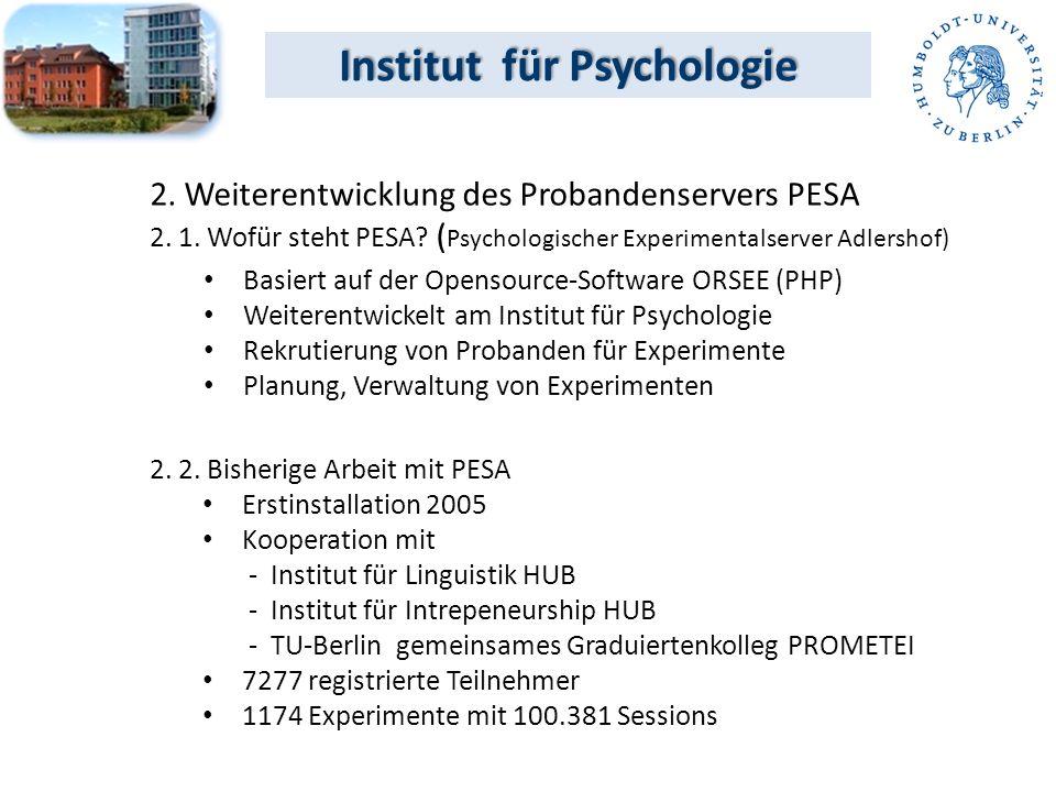 Institut für Psychologie Basiert auf der Opensource-Software ORSEE (PHP) Weiterentwickelt am Institut für Psychologie Rekrutierung von Probanden für Experimente Planung, Verwaltung von Experimenten 2.