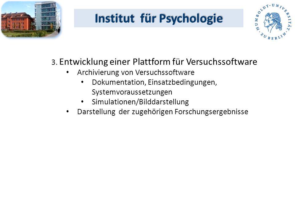 3. Entwicklung einer Plattform für Versuchssoftware Archivierung von Versuchssoftware Dokumentation, Einsatzbedingungen, Systemvoraussetzungen Simulat