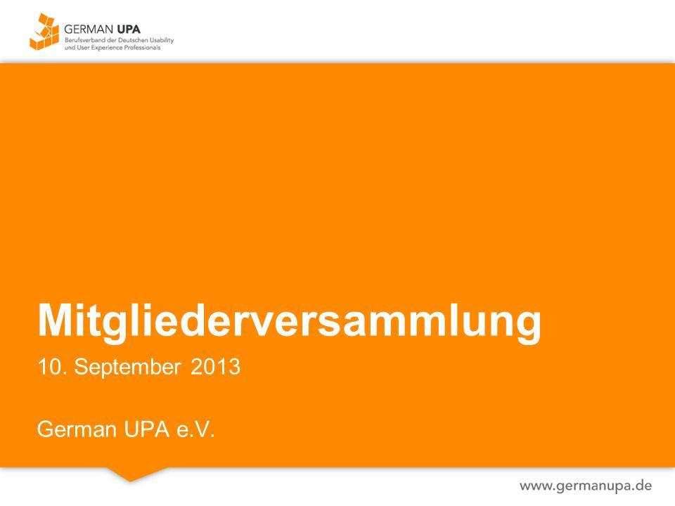 Mitgliederversammlung 10. September 2013 German UPA e.V.