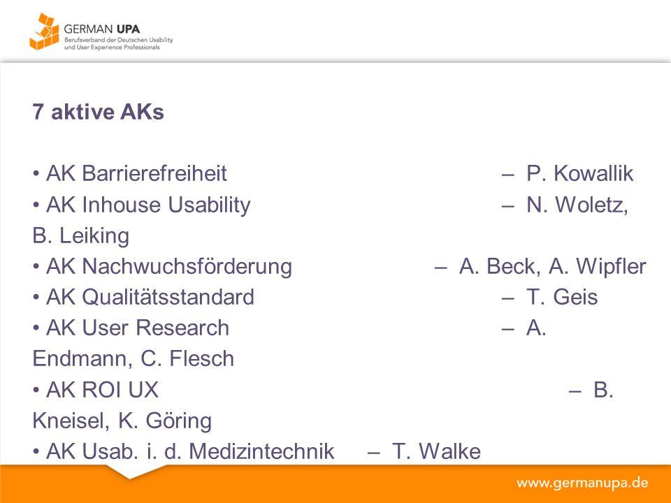 7 aktive AKs AK Barrierefreiheit – P.Kowallik AK Inhouse Usability– N.