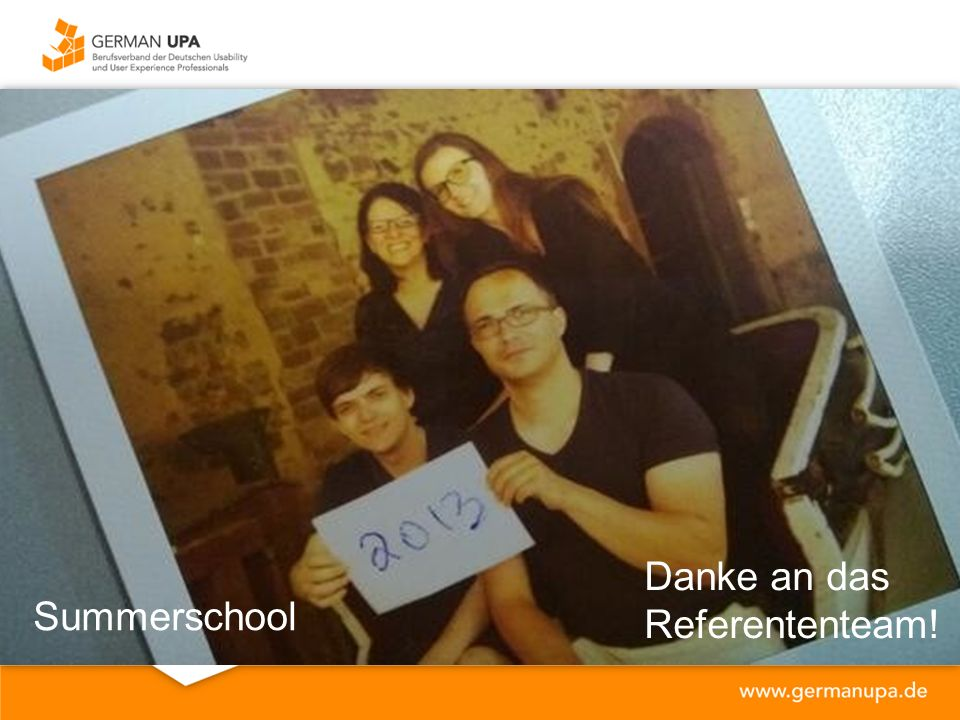 Danke an das Referententeam! Summerschool