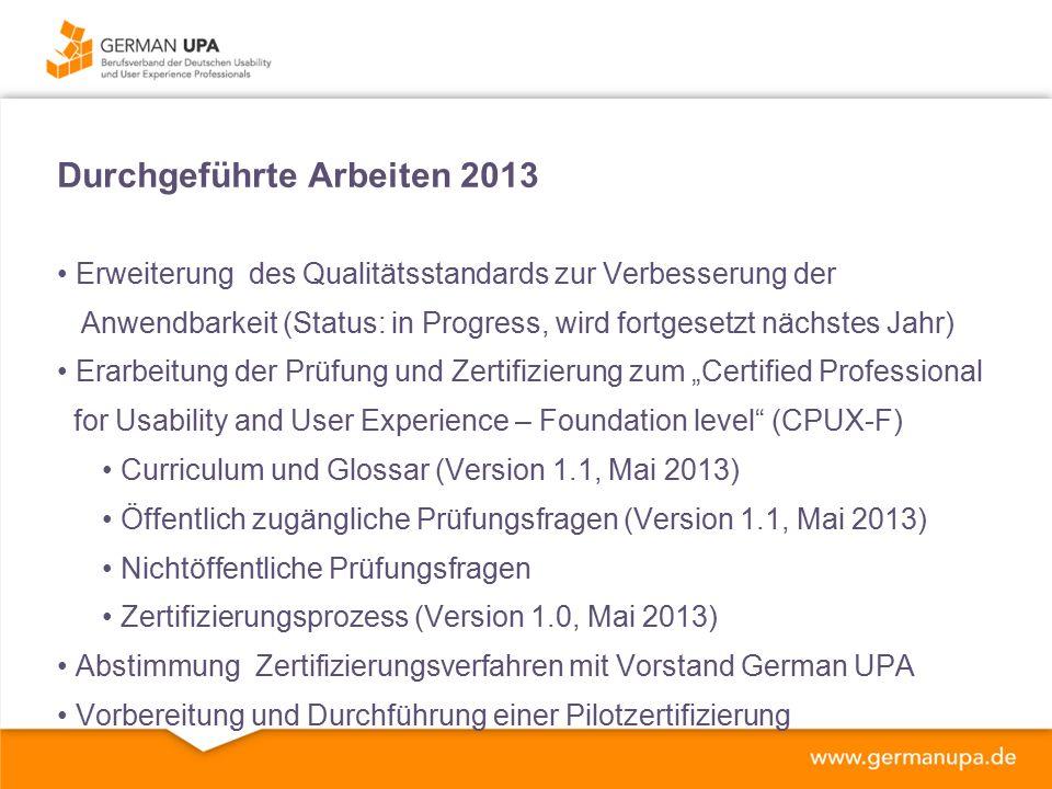 """Durchgeführte Arbeiten 2013 Erweiterung des Qualitätsstandards zur Verbesserung der Anwendbarkeit (Status: in Progress, wird fortgesetzt nächstes Jahr) Erarbeitung der Prüfung und Zertifizierung zum """"Certified Professional for Usability and User Experience – Foundation level (CPUX-F) Curriculum und Glossar (Version 1.1, Mai 2013) Öffentlich zugängliche Prüfungsfragen (Version 1.1, Mai 2013) Nichtöffentliche Prüfungsfragen Zertifizierungsprozess (Version 1.0, Mai 2013) Abstimmung Zertifizierungsverfahren mit Vorstand German UPA Vorbereitung und Durchführung einer Pilotzertifizierung"""