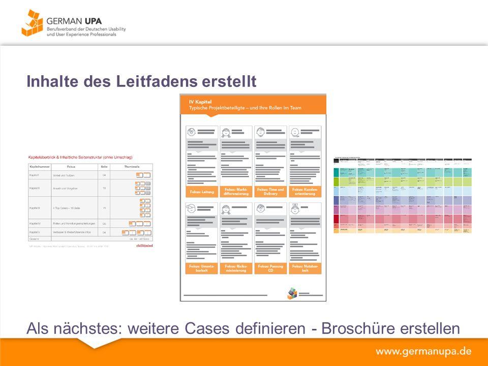 Inhalte des Leitfadens erstellt Als nächstes: weitere Cases definieren - Broschüre erstellen
