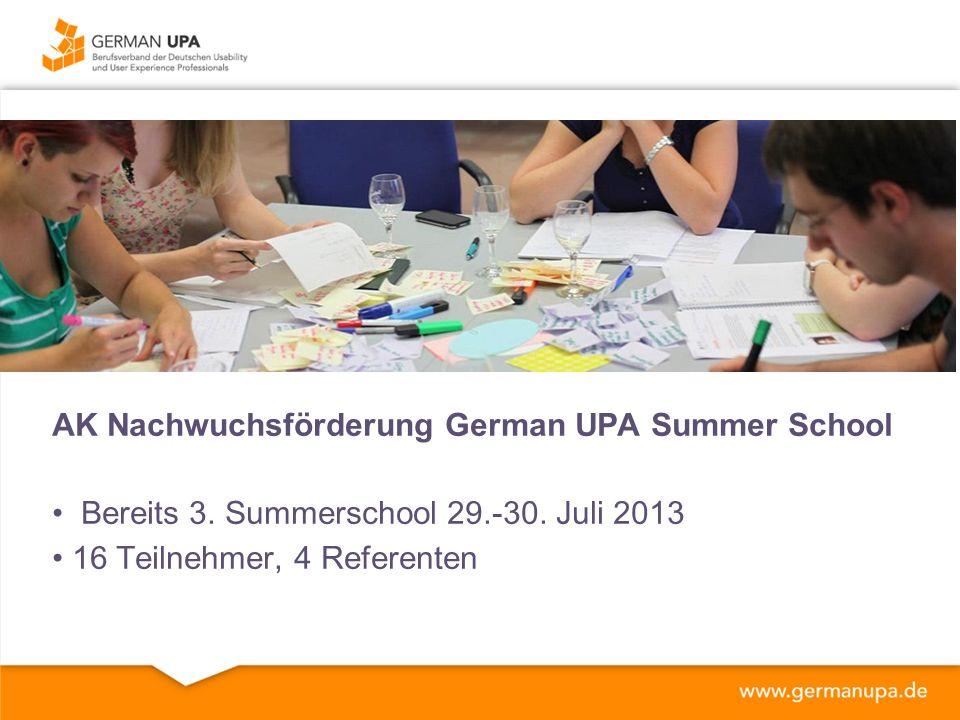 AK Nachwuchsförderung German UPA Summer School Bereits 3.