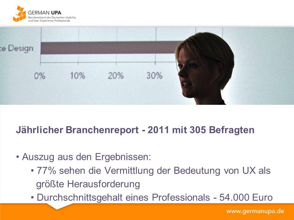 Jährlicher Branchenreport - 2011 mit 305 Befragten Auszug aus den Ergebnissen: 77% sehen die Vermittlung der Bedeutung von UX als größte Herausforderung Durchschnittsgehalt eines Professionals - 54.000 Euro
