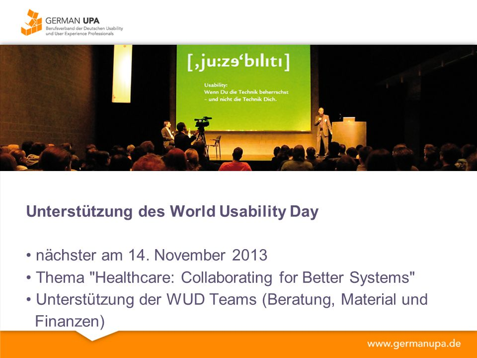 Unterstützung des World Usability Day nächster am 14.