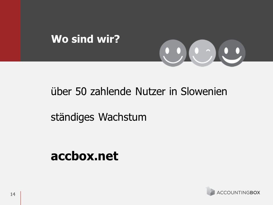 14 über 50 zahlende Nutzer in Slowenien ständiges Wachstum accbox.net Wo sind wir