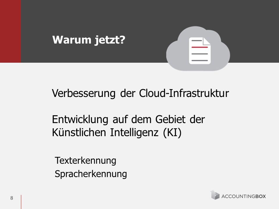 88 Verbesserung der Cloud-Infrastruktur Entwicklung auf dem Gebiet der Künstlichen Intelligenz (KI) Texterkennung Spracherkennung Warum jetzt