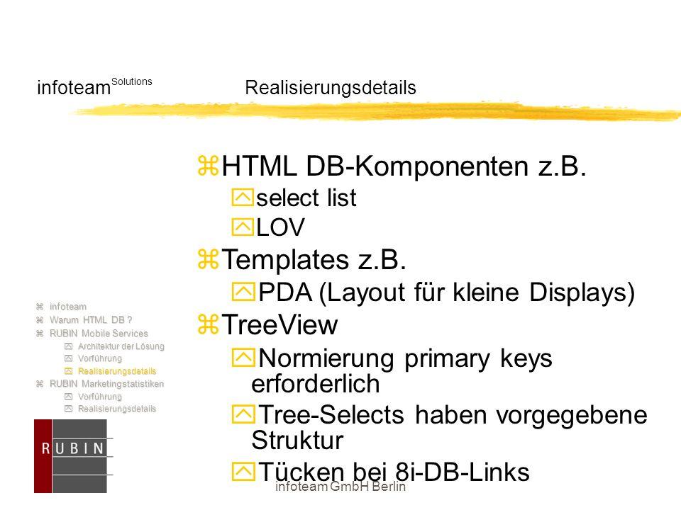 infoteam GmbH Berlin infoteam Solutions Realisierungsdetails  HTML DB-Komponenten z.B.  select list  LOV  Templates z.B.  PDA (Layout für kleine