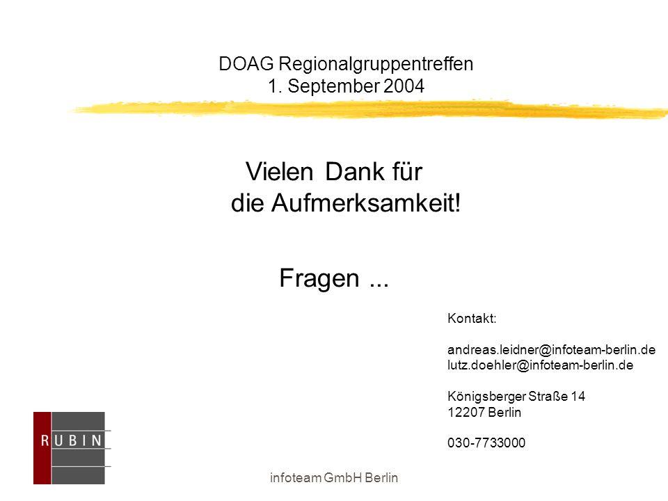 infoteam GmbH Berlin DOAG Regionalgruppentreffen 1. September 2004 Kontakt: andreas.leidner@infoteam-berlin.de lutz.doehler@infoteam-berlin.de Königsb