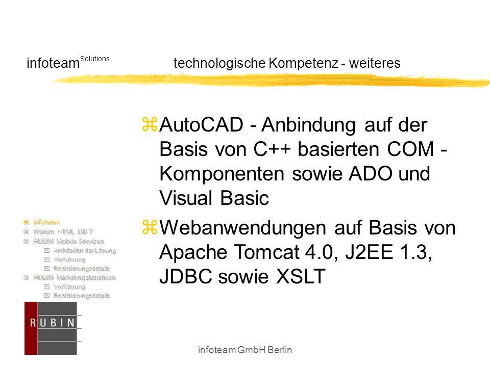 infoteam GmbH Berlin infoteam Solutions technologische Kompetenz - weiteres  AutoCAD - Anbindung auf der Basis von C++ basierten COM - Komponenten so
