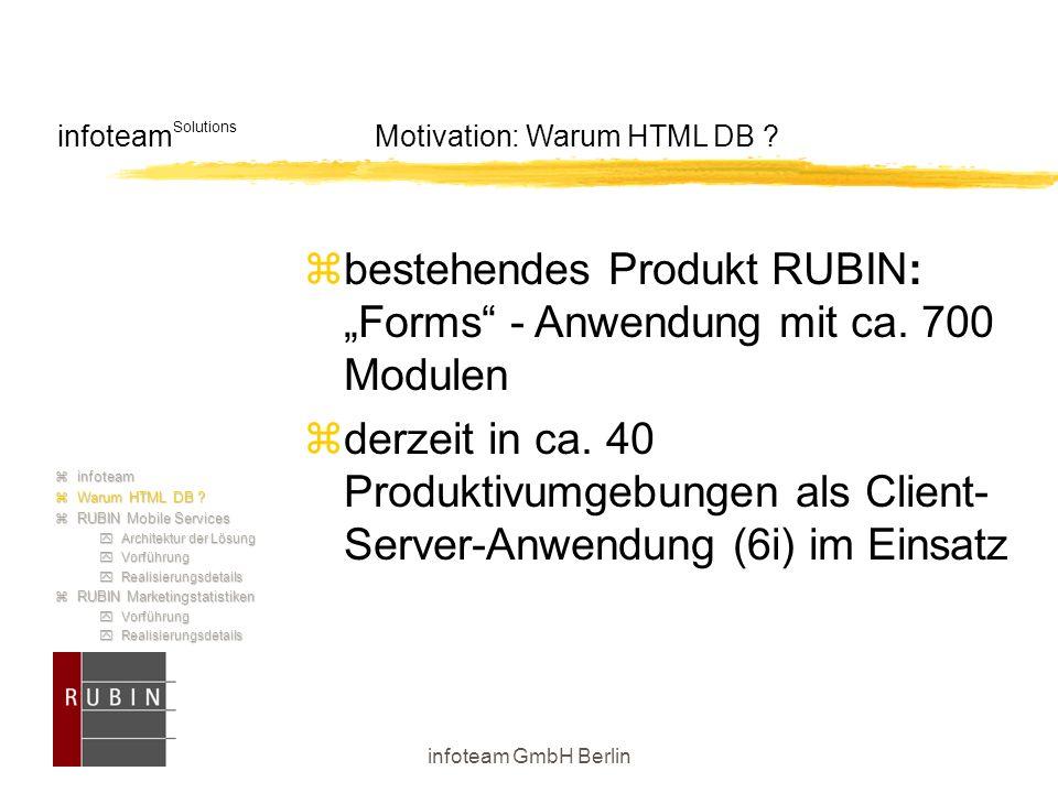 """infoteam GmbH Berlin infoteam Solutions Motivation: Warum HTML DB ?  bestehendes Produkt RUBIN: """"Forms"""" - Anwendung mit ca. 700 Modulen  derzeit in"""
