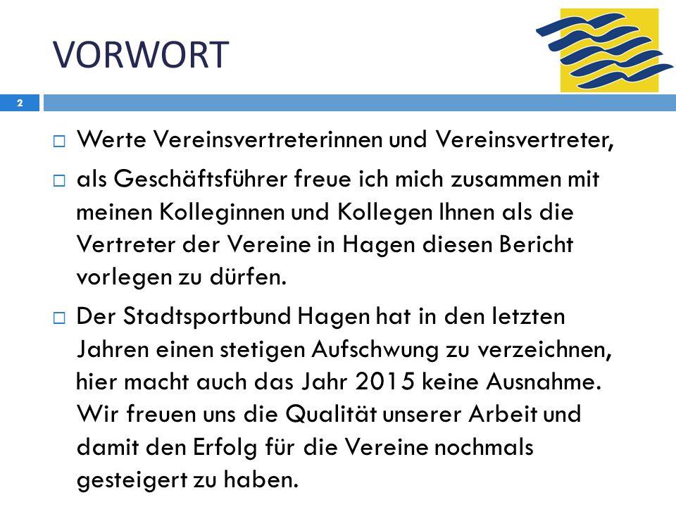 VORWORT 2  Werte Vereinsvertreterinnen und Vereinsvertreter,  als Geschäftsführer freue ich mich zusammen mit meinen Kolleginnen und Kollegen Ihnen als die Vertreter der Vereine in Hagen diesen Bericht vorlegen zu dürfen.