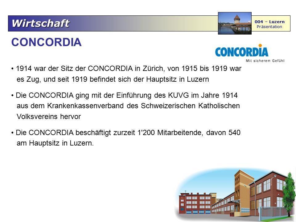 Wirtschaft 004 – Luzern Präsentation CONCORDIA 1914 war der Sitz der CONCORDIA in Zürich, von 1915 bis 1919 war es Zug, und seit 1919 befindet sich de