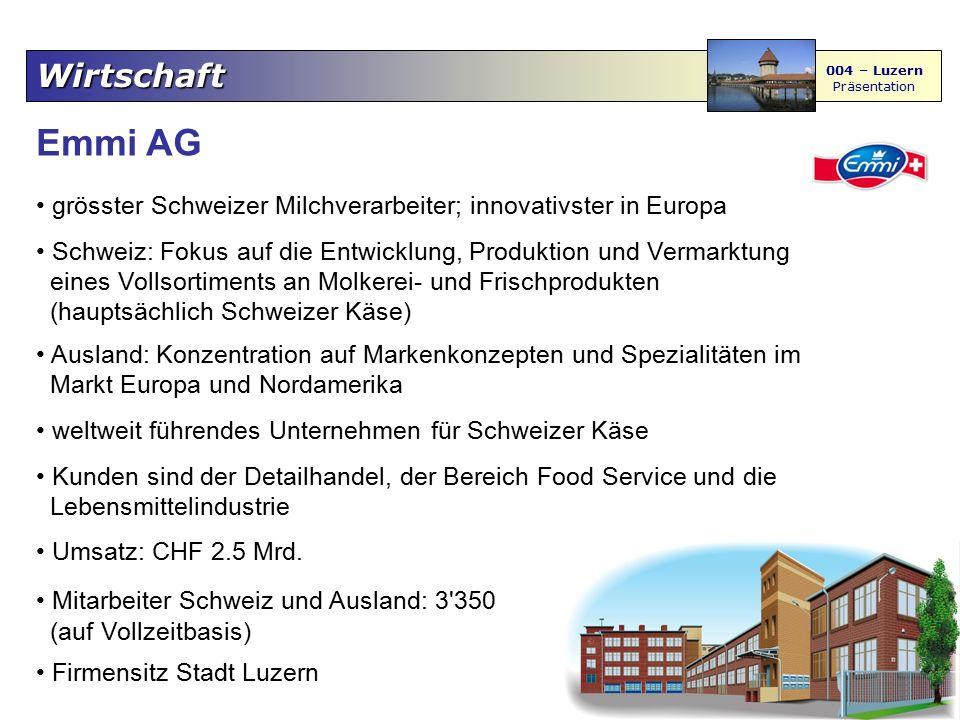 Wirtschaft 004 – Luzern Präsentation Emmi AG grösster Schweizer Milchverarbeiter; innovativster in Europa Schweiz: Fokus auf die Entwicklung, Produkti