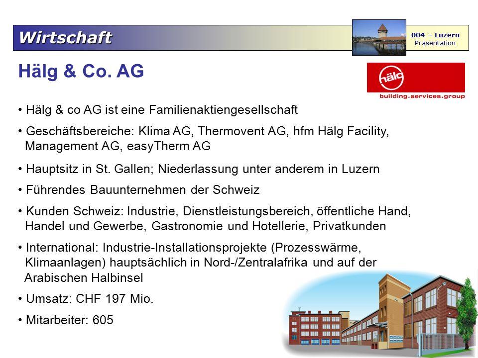 Wirtschaft 004 – Luzern Präsentation Ruag Holding & Aerospace Aktiengesellschaft mit Firmensitz in Emmen (Aerospace) und Holding Hauptsitz in Bern führender Lieferant und Integrator von Systemen und Komponenten für die zivile und militärische Luft- und Raumfahrt Schwerpunkt: Flugzeug-Strukturbau sowie Ausrüstung von Flugzeugen und Helikoptern RUAG ist ein Technologiekonzern mit drei Betriebsbereichen (Märkte): Aviation & Space, Defence & Security und Ammunitions & Products Produktionsstandorte sind in der Schweiz, in Deutschland und in Schweden Umsatz: rund CHF 1,2 Mrd.