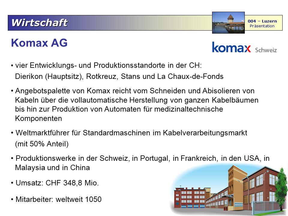 Wirtschaft 004 – Luzern Präsentation Komax AG vier Entwicklungs- und Produktionsstandorte in der CH: Dierikon (Hauptsitz), Rotkreuz, Stans und La Chau