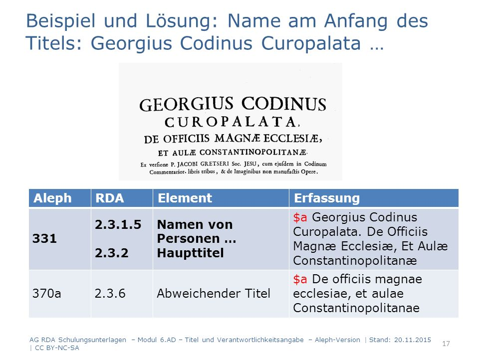 Beispiel und Lösung: Name am Anfang des Titels: Georgius Codinus Curopalata … AG RDA Schulungsunterlagen – Modul 6.AD – Titel und Verantwortlichkeitsangabe – Aleph-Version | Stand: 20.11.2015 | CC BY-NC-SA 17 AlephRDAElementErfassung 331 2.3.1.5 2.3.2 Namenvon Personen … Haupttitel $aGeorgiusCodinus Curopalata.