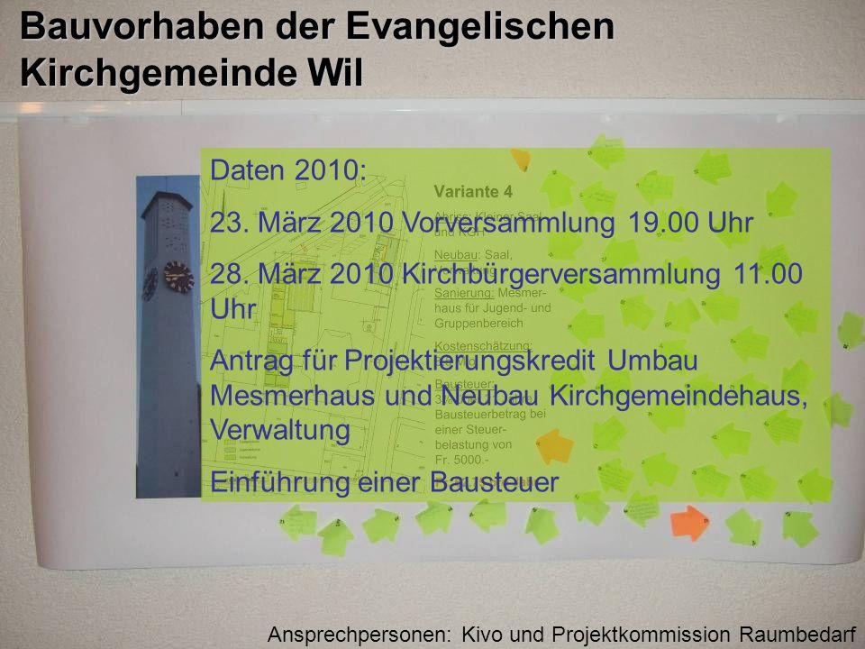 Bauvorhaben der Evangelischen Kirchgemeinde Wil Daten 2010: 23. März 2010 Vorversammlung 19.00 Uhr 28. März 2010 Kirchbürgerversammlung 11.00 Uhr Antr