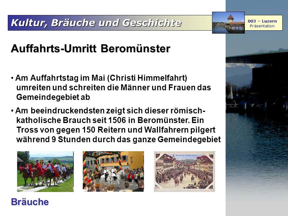 Kultur, Bräuche und Geschichte 003 – Luzern Präsentation Auffahrts-Umritt Beromünster Am Auffahrtstag im Mai (Christi Himmelfahrt) umreiten und schrei