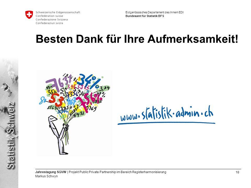 18 Jahrestagung SGVW | Projekt Public Private Partnership im Bereich Registerharmonisierung Markus Schwyn Eidgenössisches Departement des Innern EDI Bundesamt für Statistik BFS Besten Dank für Ihre Aufmerksamkeit!