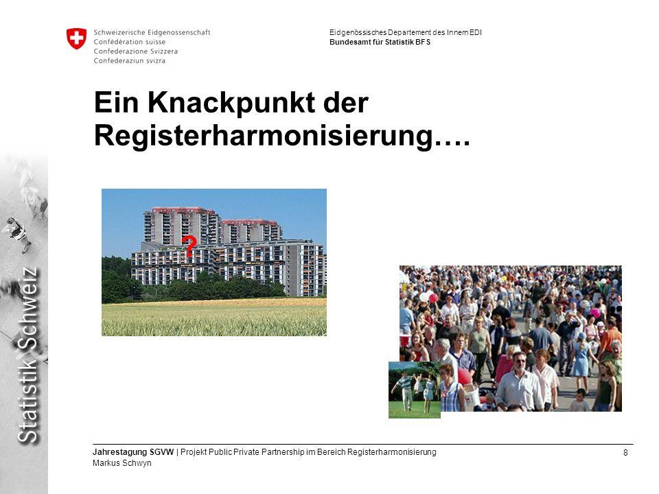 8 Jahrestagung SGVW | Projekt Public Private Partnership im Bereich Registerharmonisierung Markus Schwyn Eidgenössisches Departement des Innern EDI Bundesamt für Statistik BFS .