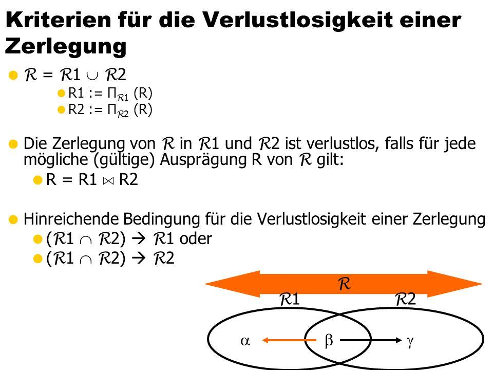 Kriterien für die Verlustlosigkeit einer Zerlegung  R = R 1  R 2  R1 := Π R 1 (R)  R2 := Π R 2 (R)  Die Zerlegung von R in R 1 und R 2 ist verlustlos, falls für jede mögliche (gültige) Ausprägung R von R gilt:  R = R1 A R2  Hinreichende Bedingung für die Verlustlosigkeit einer Zerlegung  ( R 1  R 2)  R 1 oder  ( R 1  R 2)  R 2 R R 1   R 2 