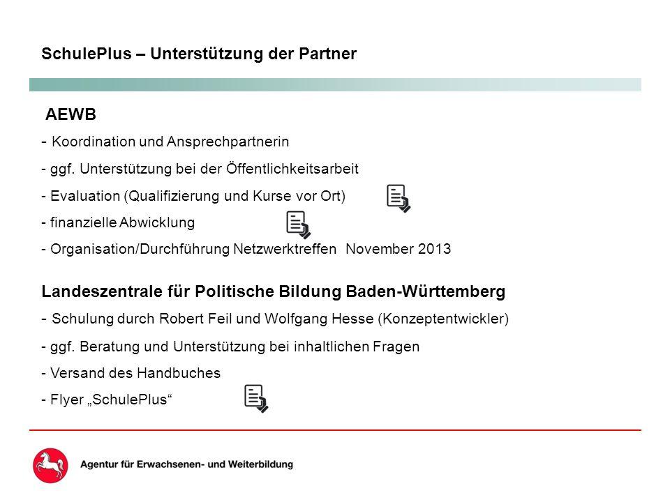 SchulePlus – Unterstützung der Partner AEWB - Koordination und Ansprechpartnerin - ggf.