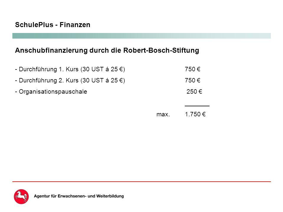 SchulePlus - Finanzen Anschubfinanzierung durch die Robert-Bosch-Stiftung - Durchführung 1.