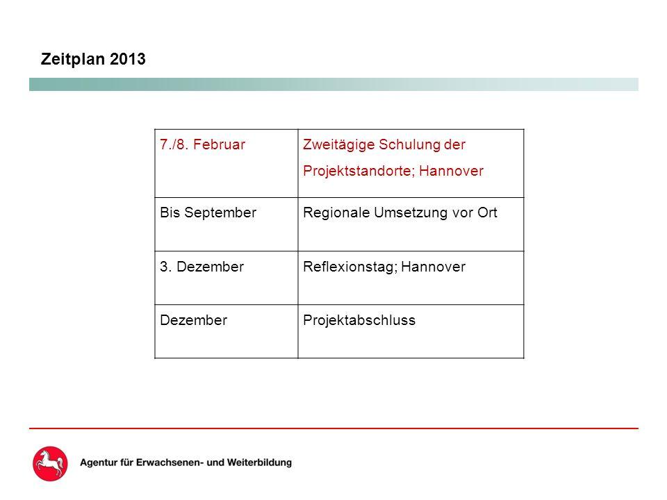 Zeitplan 2013 7./8.