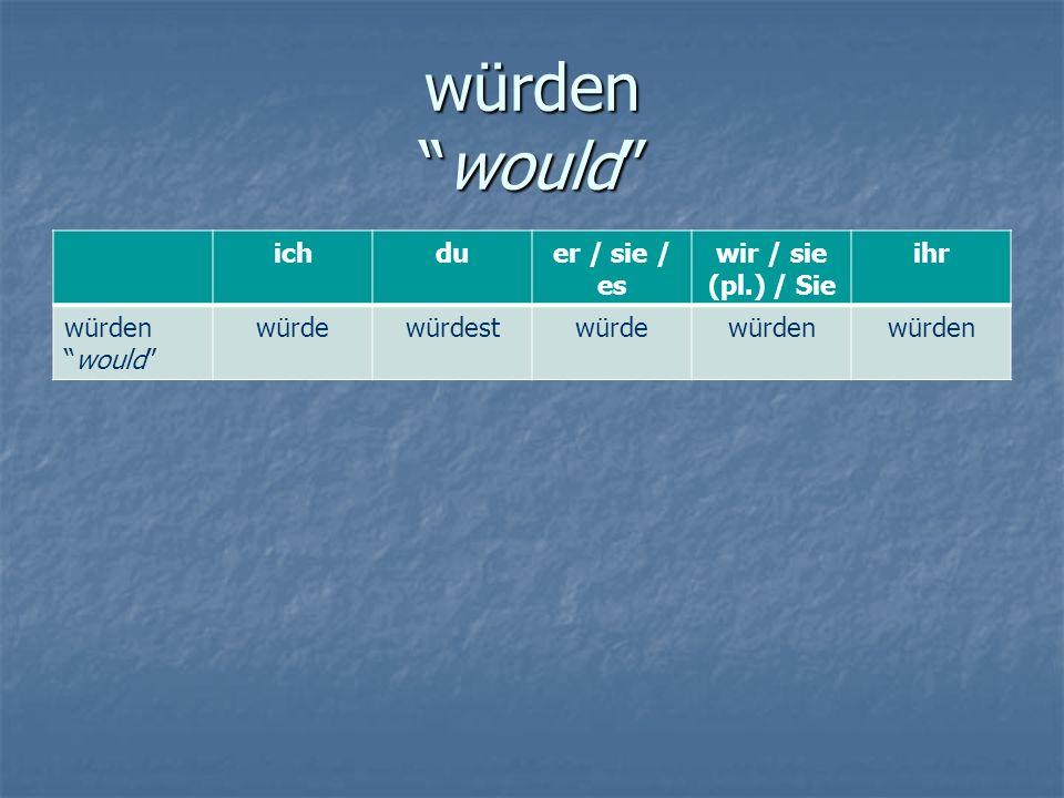 """würden """"would"""" ichduer / sie / es wir / sie (pl.) / Sie ihr würden """"would"""" würdewürdestwürdewürden"""