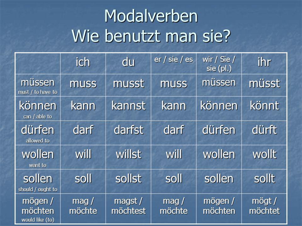 Modalverben Wie benutzt man sie? ichdu er / sie / es wir / Sie / sie (pl.) ihr müssen must / to have to mussmusstmussmüssenmüsst können can / able to