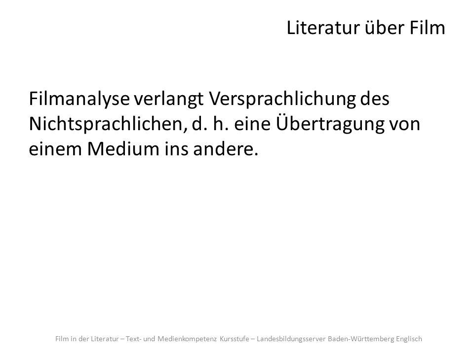 Literatur über Film Filmanalyse verlangt Versprachlichung des Nichtsprachlichen, d.