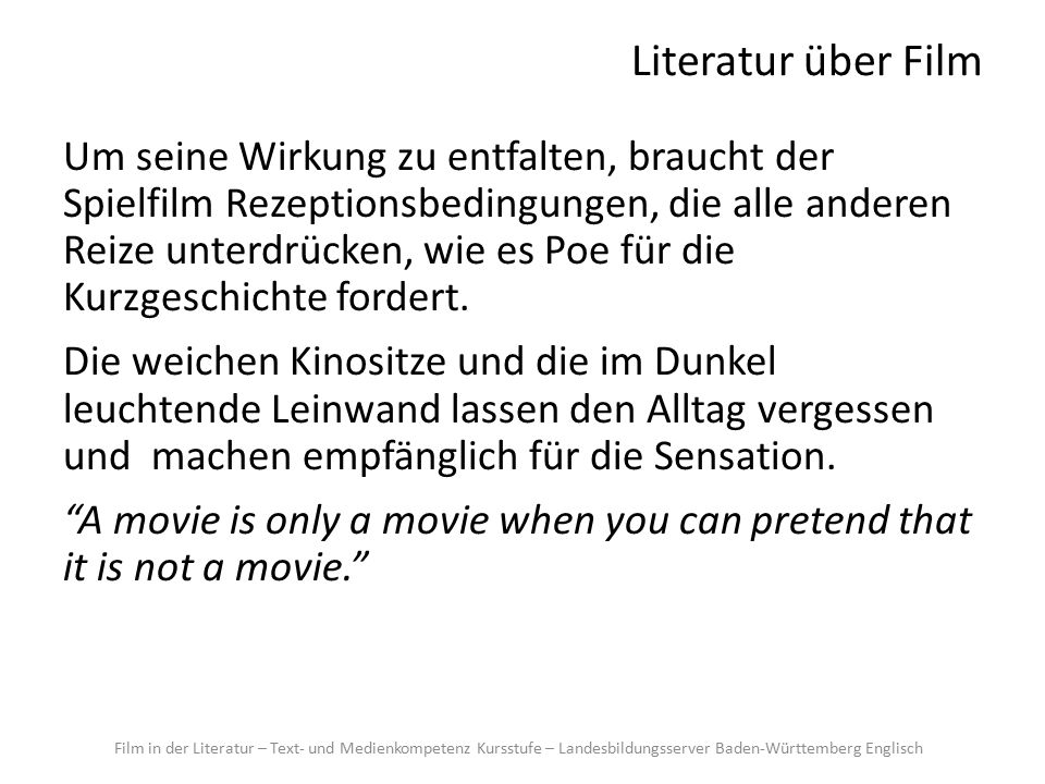 Literatur über Film A desire to kill The next moment a hideous, grinding speech […] burst from the big telescreen at the end of the room.