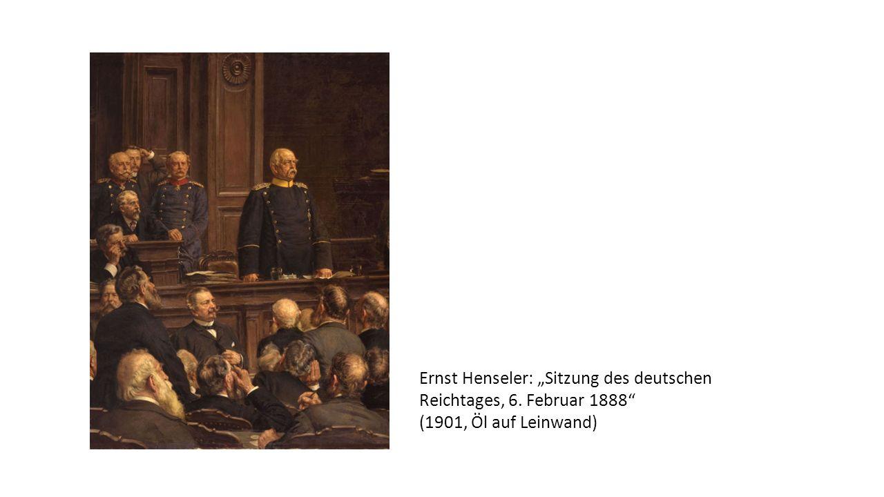 """Ernst Henseler: """"Sitzung des deutschen Reichtages, 6. Februar 1888 (1901, Öl auf Leinwand)"""