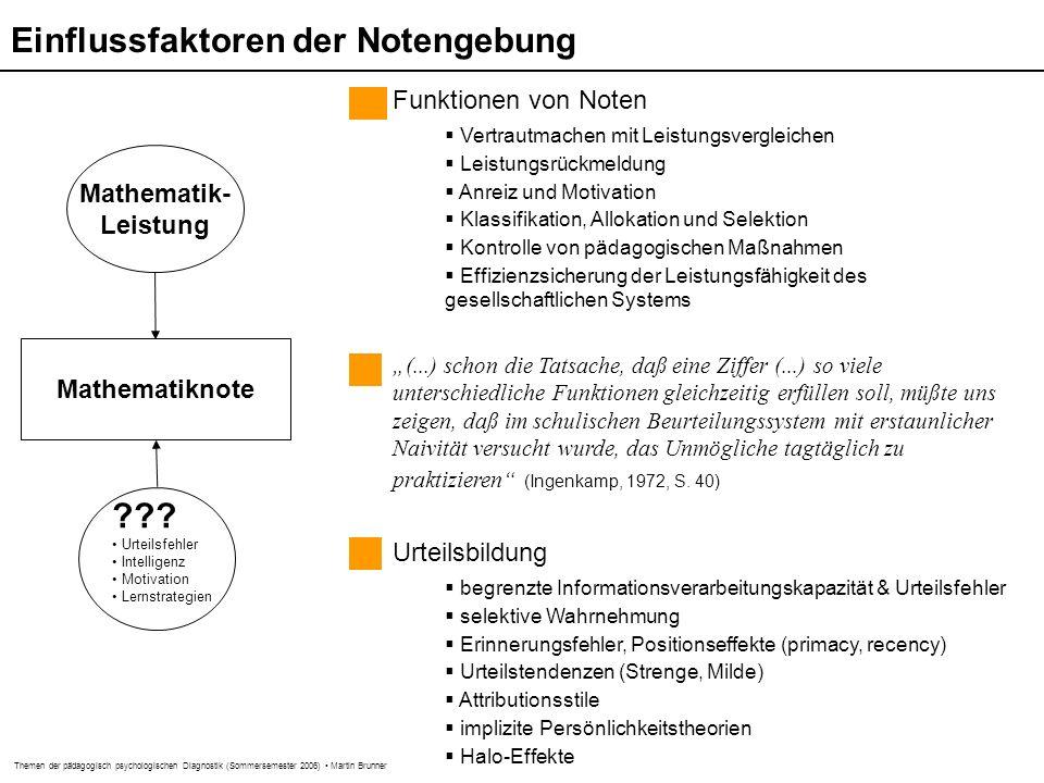 Themen der pädagogisch psychologischen Diagnostik (Sommersemester 2006) Martin Brunner Mathematiknote Mathematik- Leistung .