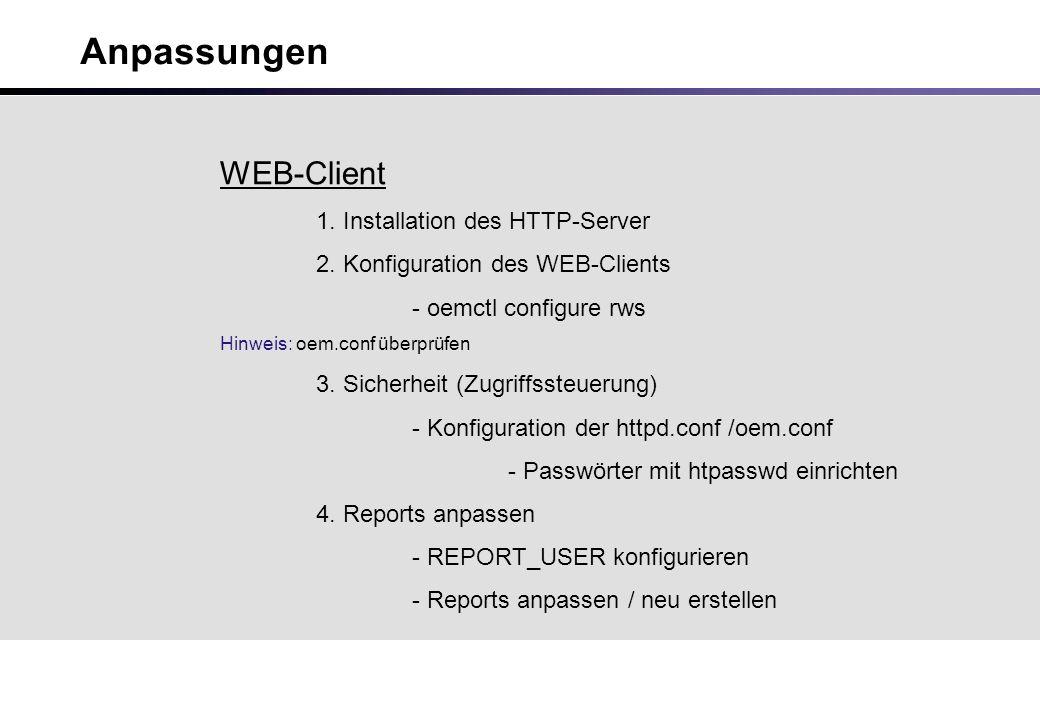 Anpassungen WEB-Client 1. Installation des HTTP-Server 2.