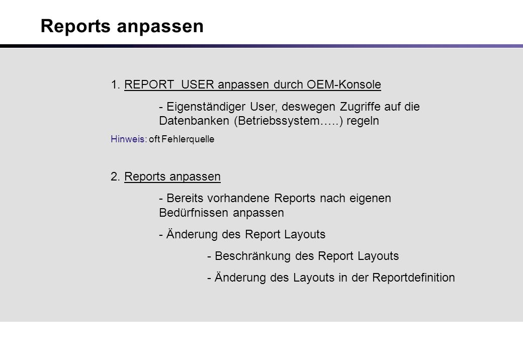 Reports anpassen 1.