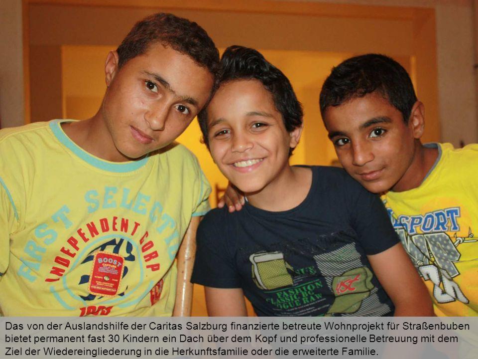 Das von der Auslandshilfe der Caritas Salzburg finanzierte betreute Wohnprojekt für Straßenbuben bietet permanent fast 30 Kindern ein Dach über dem Ko