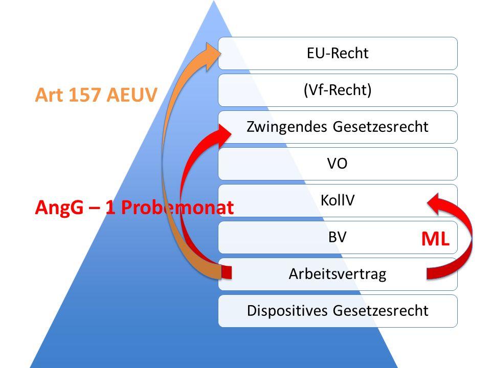 EU-Recht(Vf-Recht)Zwingendes GesetzesrechtVOKollVBVArbeitsvertragDispositives Gesetzesrecht AngG – 1 Probemonat ML Art 157 AEUV
