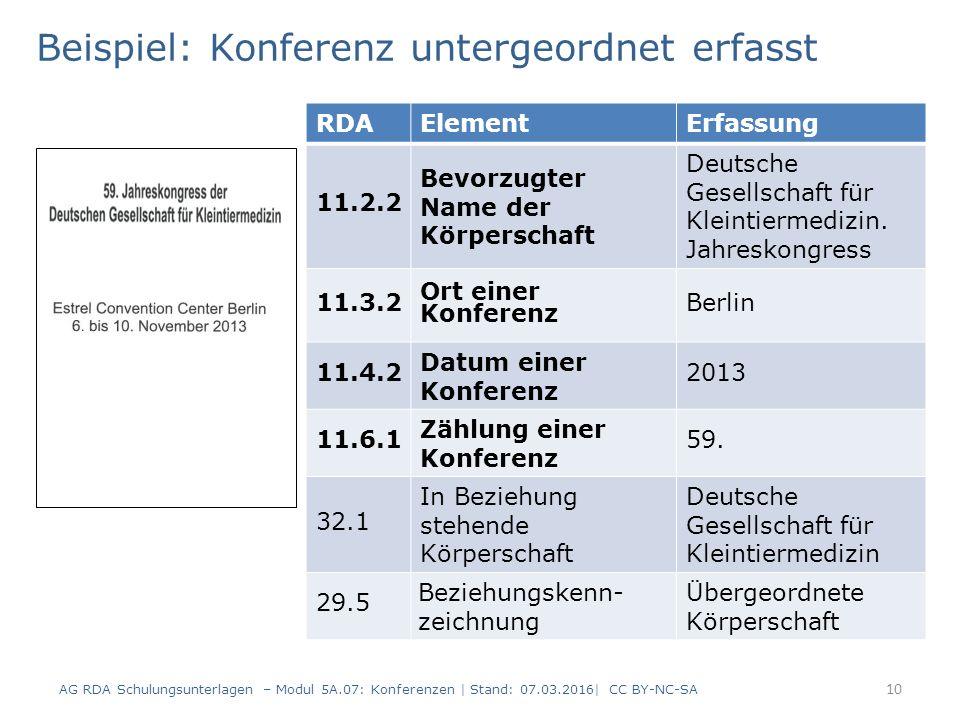 10 RDAElementErfassung 11.2.2 Bevorzugter Name der Körperschaft Deutsche Gesellschaft für Kleintiermedizin. Jahreskongress 11.3.2 Ort einer Konferenz