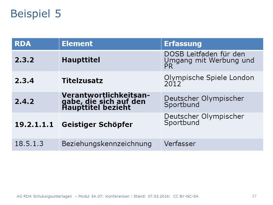 37 RDAElementErfassung 2.3.2Haupttitel DOSB Leitfaden für den Umgang mit Werbung und PR 2.3.4Titelzusatz Olympische Spiele London 2012 2.4.2 Verantwortlichkeitsan- gabe, die sich auf den Haupttitel bezieht Deutscher Olympischer Sportbund 19.2.1.1.1Geistiger Schöpfer Deutscher Olympischer Sportbund 18.5.1.3BeziehungskennzeichnungVerfasser Beispiel 5 AG RDA Schulungsunterlagen – Modul 5A.07: Konferenzen | Stand: 07.03.2016| CC BY-NC-SA