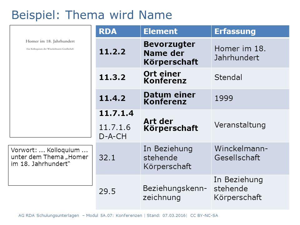 8 RDAElementErfassung 11.2.2 Bevorzugter Name der Körperschaft Homer im 18.