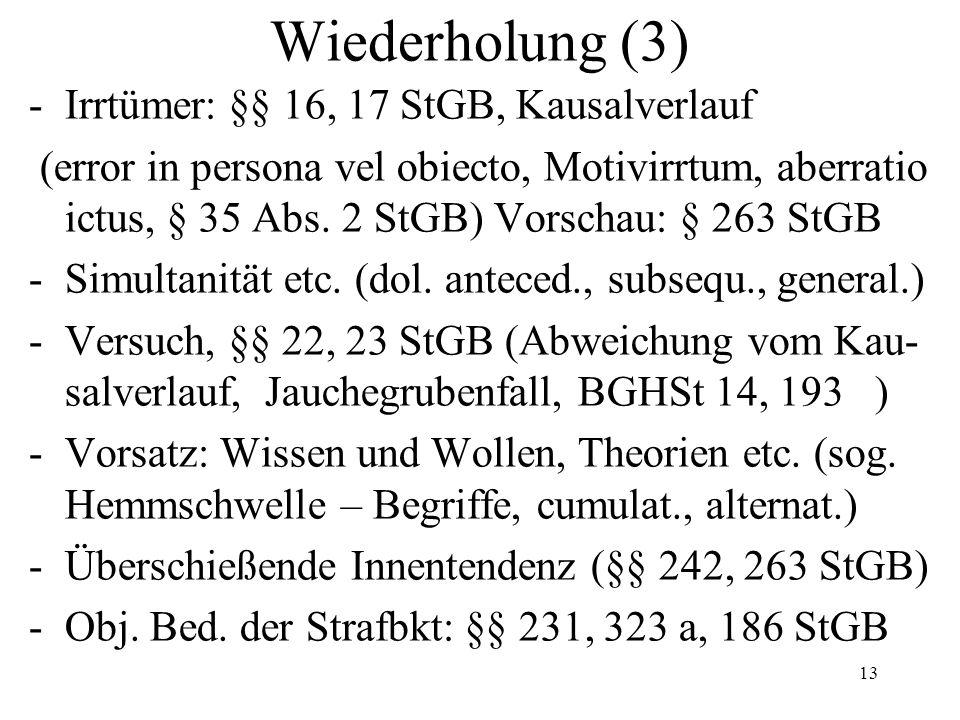 Wiederholung (3) -Irrtümer: §§ 16, 17 StGB, Kausalverlauf (error in persona vel obiecto, Motivirrtum, aberratio ictus, § 35 Abs.