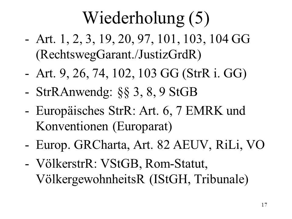 Wiederholung (5) -Art. 1, 2, 3, 19, 20, 97, 101, 103, 104 GG (RechtswegGarant./JustizGrdR) -Art.