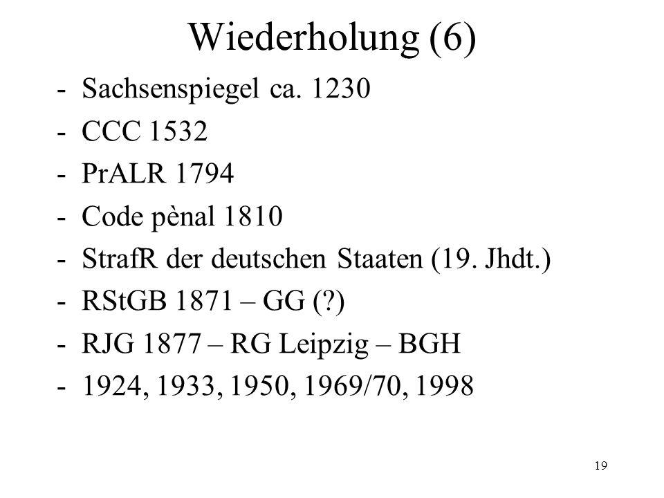 Wiederholung (6) -Sachsenspiegel ca.