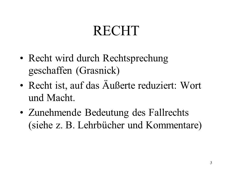 RECHT Recht wird durch Rechtsprechung geschaffen (Grasnick) Recht ist, auf das Äußerte reduziert: Wort und Macht.